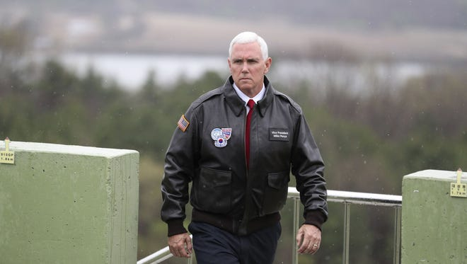 Vice President Mike Pence arrives at Observation Post Ouellette in the Demilitarized Zone (DMZ), near the border village of Panmunjom, which has separated the two Koreas since the Korean War, South Korea, Monday, April 17, 2017.