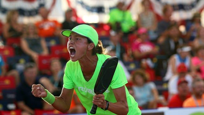 Simone Jardim of Naples celebrates a point during the U.S.  Open Pickleball Women's Pro Single Championship at East Naples Community Park on April 23, 2017. Jardim went on to defeat Irena Terishenko in three games.