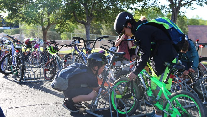 Students at Sunset Elementary School in St. George rode bikes to school Tuesday for the first time in more than a decade after school officials agreed to lift a ban on bicycles in an effort to promote a healthier, more active lifestyle.