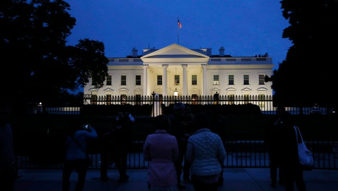 In this April 23, 2017, file photo, The White House in Washington. The president stayed in town for the weekend but did not hold any public events on day 94 and was not photographed. (AP Photo/Manuel Balce Ceneta, File)