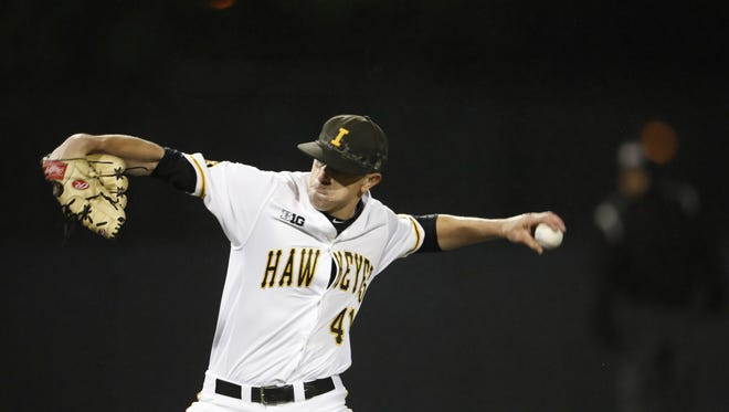 Iowa southpaw Ryan Erickson delivers a pitch in Game 2 of Friday's doubleheader against Penn State at Duane Banks Field. The Hawkeyes won both games.