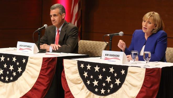 Republican gubernatorial candidate Jack Ciattarelli  as fellow candidate Kim Guadagno answers a debate question.