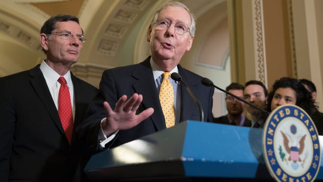 Senate Majority Leader Republican Mitch McConnell, R-Ky., speaks during a news conference alongside Sen. John Barrasso, R-Wyo., on Capitol Hill on May 9, 2017.