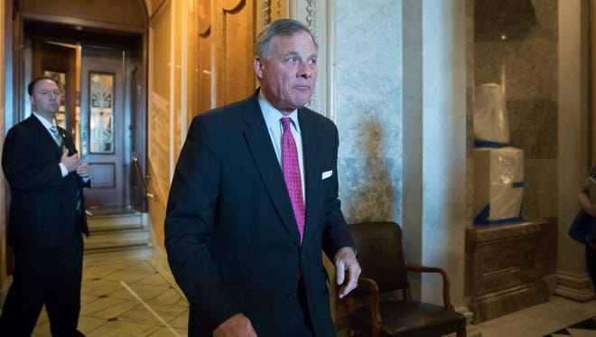 Senate Intelligence Chairman Richard Burr leaves the chamber after a vote on Capitol Hill on May 10, 2017.