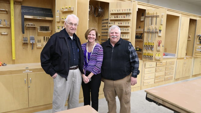 Pictured from left are Ralph Klemz, Oshkosh Builders Association; Mary Downs, FVTC Foundation and community relations; and Robert Duzinske, Oshkosh Builders Association.
