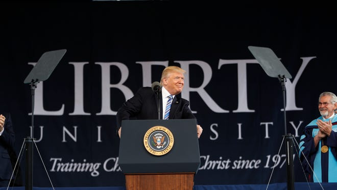 President Donald Trump gives the commencement address for the Class of 2017 at Liberty University in Lynchburg on Saturday, May 13, 2017.