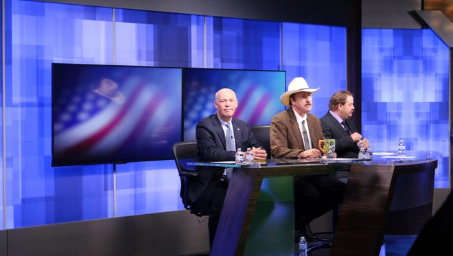 The three candidates, Republican Greg Gianforte, from left, Democrat Rob Quist and Libertarian Mark Wicks vying to fill Montana's only congressional seat await the start of the only televised debate on April 29 in Great Falls.