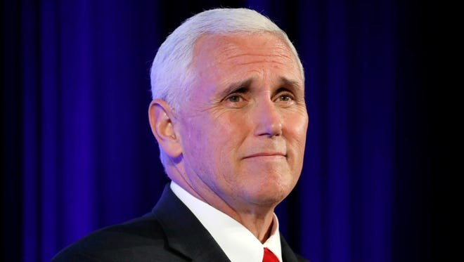 """Vice President Mike Pence pauses while speaking at the U.S. Chamber of Commerce, during their """"Invest in America!"""" Summit, Thursday, May 18, 2017, in Washington."""