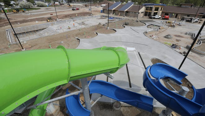Construction continues at the new Erb Pool Wednesday, May 17, 2017, at Erb Park in Appleton, Wis. The Erb Pool consists of a competition pool, water slide, bathhouse and leisure pool.   Dan Powers/USA TODAY NETWORK-Wisconsin