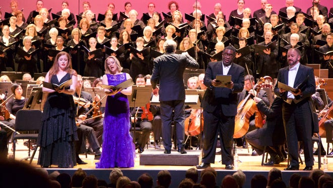 May Festival soloists Jennifer Johnson Cano, Carolyn Sampson, Eric Owens and Thomas Cooley with the May Festival Chorus, CSO and conductdor Markus Stenz in Beethoven's Ninth.