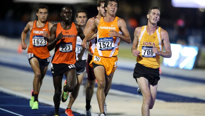 Zach Long (1527) moves during the NCAA East prelims 5,000 to clinch a spot in the national championship meet.