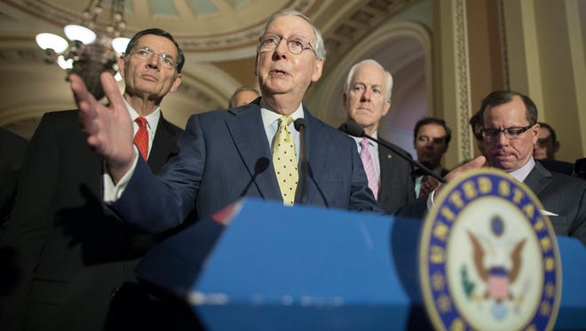 Senate Majority Leader Mitch McConnell speaks on Capitol Hill on June 20, 2017.