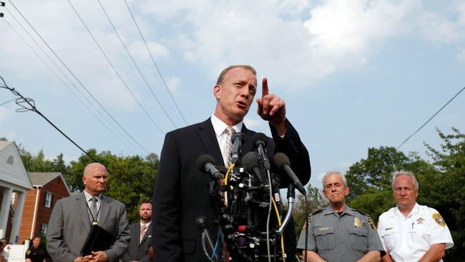 FBI Special Agent in Charge Tim Slater points to a question during a media availability Wednesday, June 14, 2017, in Alexandria, Va.