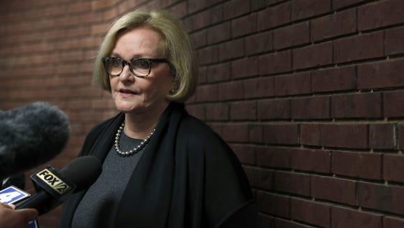 Sen. Claire McCaskill, D-Mo., speaks to the media following