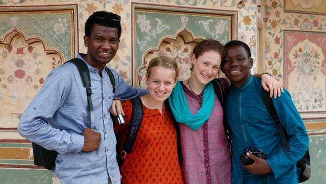 Cameron Woods, far left, stayed in a rural village in Jaipur, India, as part of The Experiment in International Living cultural immersion program.
