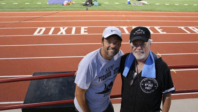 """Merrill and Justin Osmond pose at Legend Solar Stadium during rehearsals for the July 24th holiday """"Pioneer Legacy"""" spectacular Wednesday, July 19, at Dixie State University."""