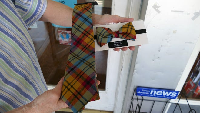 Merchandise patterned with the official Franklin tartan includes ties and bow ties, scarves and hats.