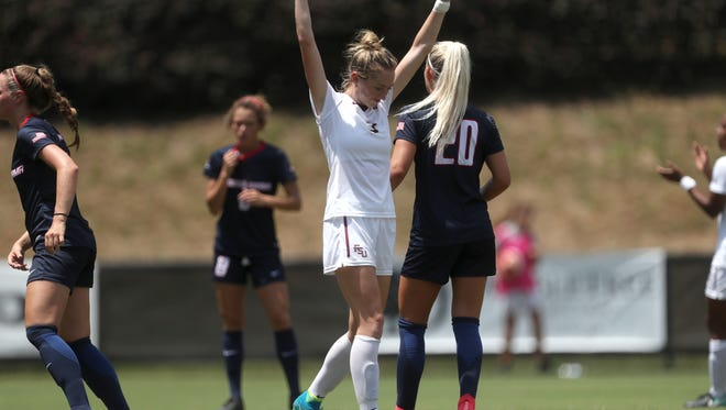 FSU's Megan Connolly celebrates one of her two first-half goals against South Alabama at the Seminole Soccer Complex on Sunday, Aug. 20, 2017.