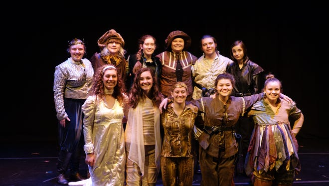 The Belt Valley Shakespeare Players cast after a second of four performances at the Edinburgh Festival Fringe in Scotland included Emily Highfill (Alonso, King of Naples), Daniel Westlake (Gonzalo), Julia Vogt (Prospero), Kali Duncan (Stephano), Keaghan Opheim (Ferdinand), Abby Marchington (Sebastion) Front row from left: Hannah Palmer (Miranda), Adrianna Irvine (Ariel), Mo Wall (Caliban), Victoria Sherwood (Antonio) and Charity Highfill (Trinculo).