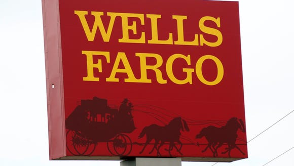 This April 11, 2017, photo shows a Wells Fargo bank
