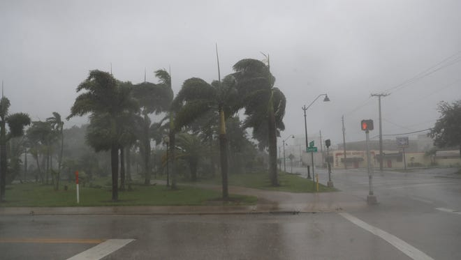 Hurricane Irma is making its way through Southwest Florida on Sunday 10/10/2017. Photographed on Fort Myers Beach and downtown Fort Myers.