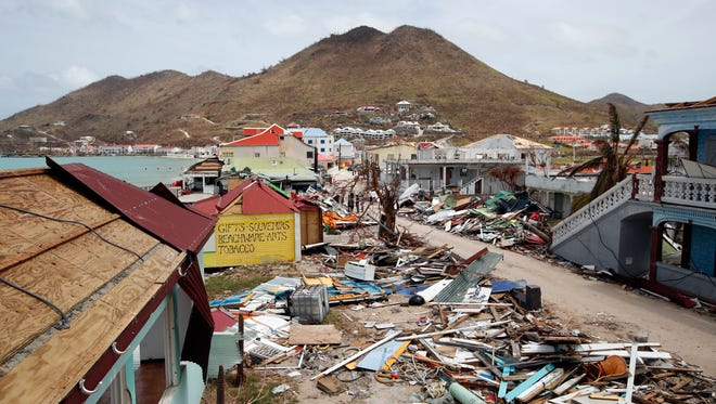 View of buildings destroyed by Hurricane Irma during the visit of French  President Emmanuel Macron in the Caribbean island of St. Martin on Sept. 12, 2017.