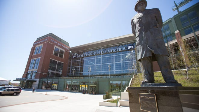 A Vince Lombardi statue stands outside Lambeau Field in Green Bay.