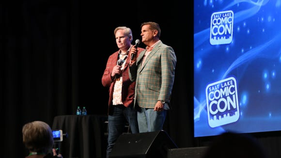 FanX founders Dan Farr and Brian Brandenburg introduce Dick Van Dyke at Salt Lake Comic Con, Sept. 22, 2017.