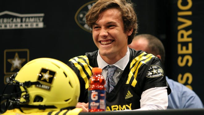 Gulf Coast tight end George Takacs laughs as his teammates chant his name during Thursday afternoon's U.S. Army All-American Bowl jersey ceremony at Gulf Coast High School. Takacs, a Notre Dame commit, is the first player from Gulf Coast's history to be selected for the national game on January 6, 2018 in San Antonio, Texas.