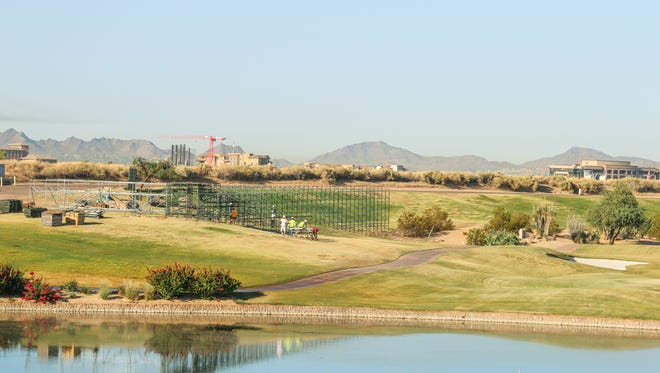 A view of the beginning of construction of grand stands and bleachers at TPC Scottsdale, October 2017.
