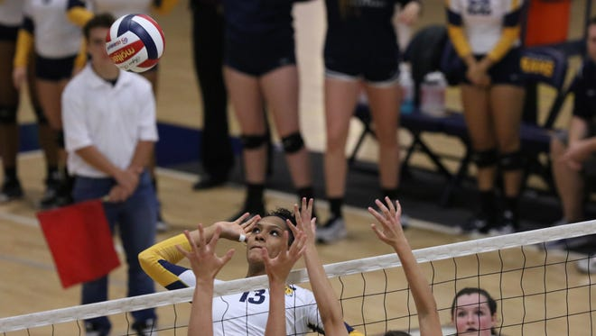 Texas Wesleyan University's Tierra Coverson, a former Lake View High School standout, goes up for an attack in action during the 2017 season.