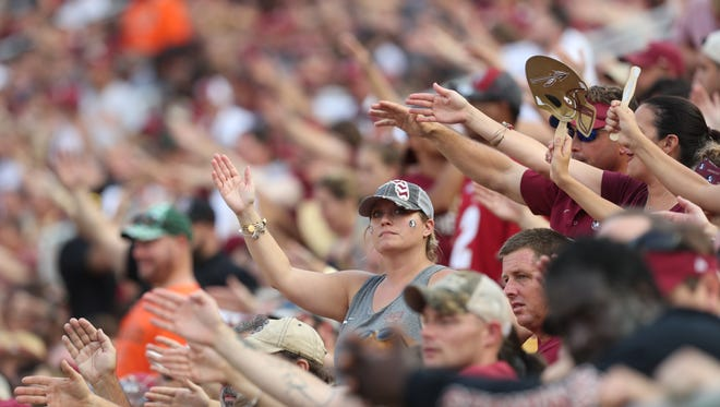 Fans watch as the Seminoles take on the Hurricanes at Doak Campbell Stadium on Saturday, Oct. 7, 2017.