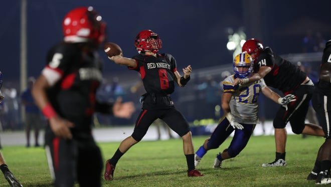 The North Fort Myers Red Knights take on the Charlotte Tarpons in high school football on Friday, October 13, 2017, at North Fort Myers High School.