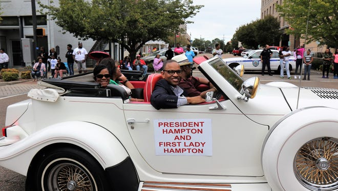 Lane College President, Dr. Logan Hampton, and First Lady, Susan Hampton ride during Lane's Homecoming Parade.