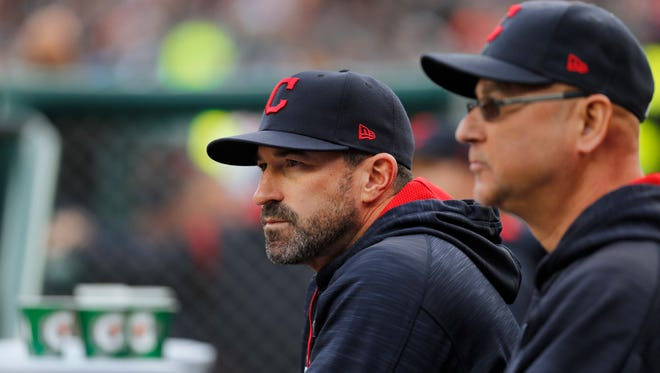 Indians pitching coach Mickey Callaway, left, is about the become the next Mets manager.