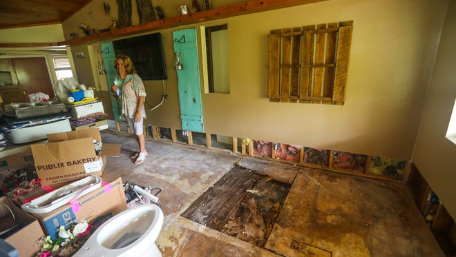 Wendy Peterson surveys damage to her Alva home following Hurricane Irma. Hurricane damage that was not fixed by Jan 1. can lead to a small tax break, since the damage has to be factored into property values calculated for tax purposes.  NEWS-PRESS/ANDREA MELENDEZ