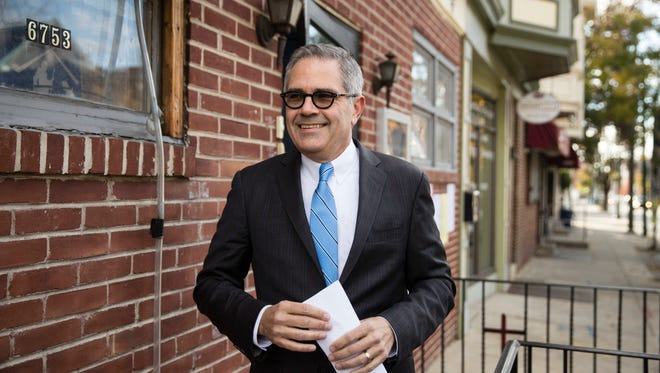 Democratic nominee for Philadelphia district attorney Larry Krasner walks from his polling place after voting in Philadelphia, Tuesday, Nov. 7, 2017. His opponent is Republican Beth Grossman.