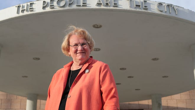 Newly elected Palm Springs City Council member, Lisa Middleton, the first transgender person elected to a non-judicial office in California, on Wednesday, November 8, 2017 in front of Palm Springs City Hall.