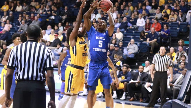 MTSU forward Nick King goes up for a basket in a game against Murray State at CFSB Center no Nov. 13, 2017.