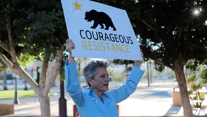 Courageous Resistance lead coordinator Joy Silver is pictured at the Cathedral City, California, civic center park on Nov. 22, 2017. Courageous Resistance fights for sanctuary cities in the Coachella Valley.