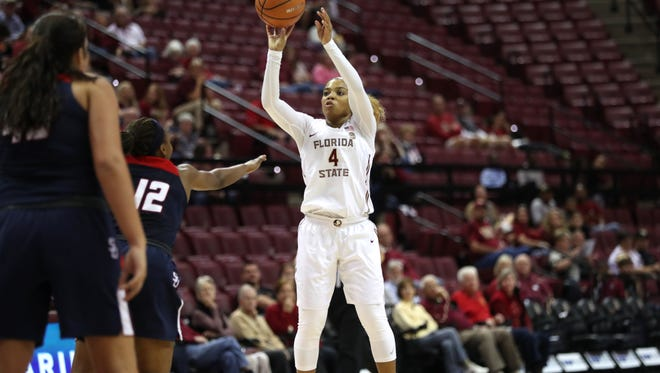 FSU's AJ Alix shoots a jumper against Samford during their game at the Tucker Civic Center on Sunday, Nov. 26, 2017.