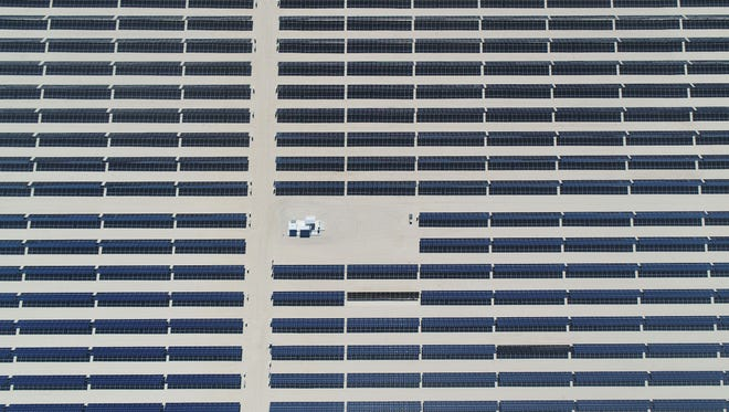 The 50-megawatt Seville solar farm at Allegretti Ranch in western Imperial County, seen from a drone.
