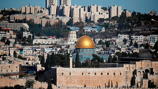 A general view of the city of Jerusalem shows the Dome of the Rock mosque in the early afternoon hours, on Dec. 4, 2017.