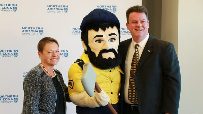 Mike Marlow (right) was named NAU's Vice President for Intercollegiate Athletics on Wednesday, Dec. 13, 2017 in Flagstaff.