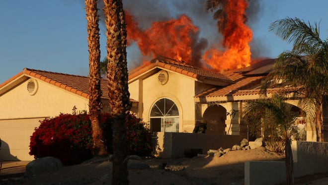 A home caught fire Thursday morning on Warwick Drive in Desert Hot Springs. Five people have been displaced by the fire.
