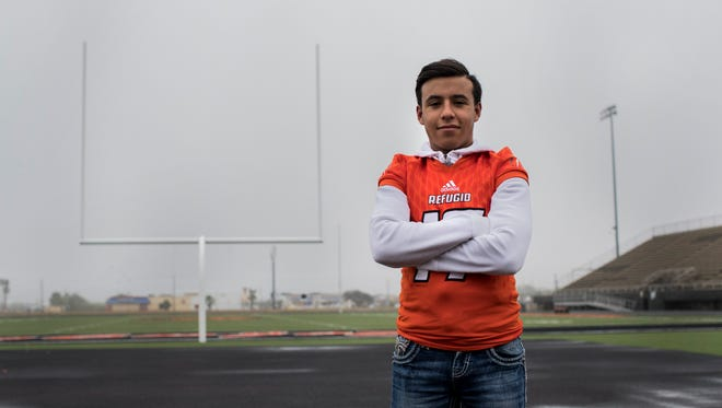 Refugio junior kicker Diego Gonzalez kicked the game-winning field goal in the final seconds to propel the Bobcats to their fourth state title last year. Gonzalez and the Bobcats are aiming for a repeat on Wednesday vs. Mart.