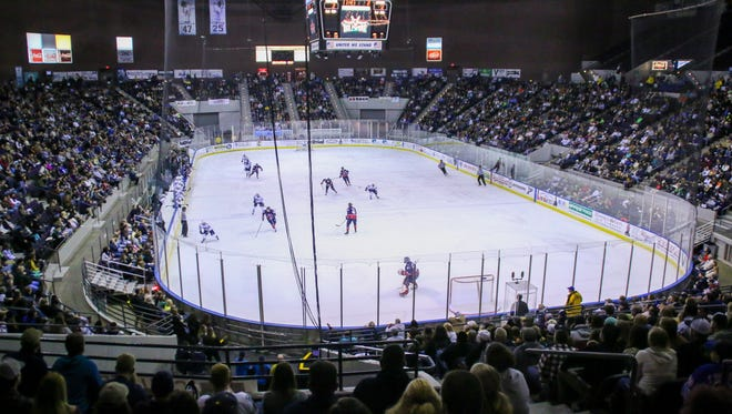 Over 5,100 fans watch the Pensacola Ice Flyers take on the Macon Mayhem at the Pensacola Bay Center on Saturday, December 30, 2017. The Ice Flyers are now 17-4-2 after losing 4-3 in overtime, and remain in first place with 36 points.