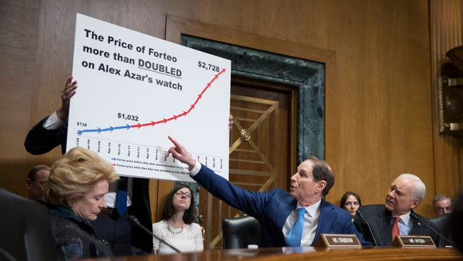 Sen. Ron Wyden (D-Oregon) points to a chart beside Chairman of the Senate Finance Committee Republican Sen. Orrin Hatch (R-Utah) during the committee's hearing on the nomination of Alex Azar to be Secretary of Health and Human Services on Capitol Hill in Washington, D.C., Tuesday, Jan. 9, 2018.