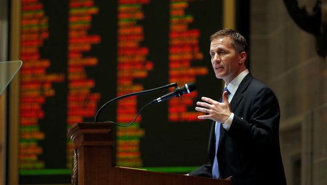 Missouri Gov. Eric Greitens delivers the annual State of the State address to a joint session of the House and Senate, Wednesday, Jan. 10, 2018, in Jefferson City, Mo.