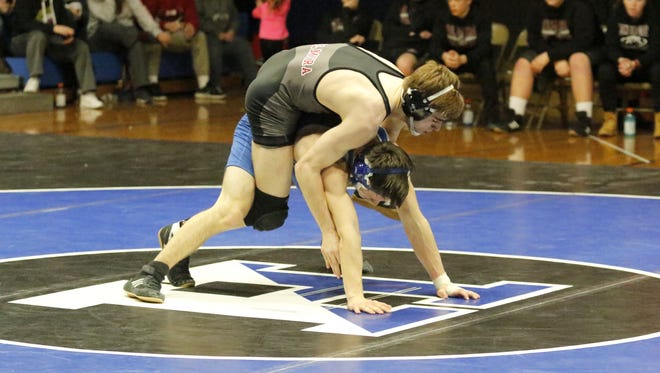 Elmira's Garret Andriene, top, was a 12-2 winner over Matt Merrill of Horseheads in the 170-pound match Jan. 25 in the Section 4 Division I Dual Meet Tournament final at Horseheads High School.